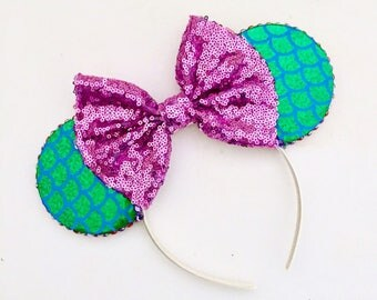 The Mermaid (Green) -  Handmade Mouse Ears Headband