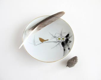Bird Plate Trinket Dish, Zen Decor, Ceramic Incense Holder
