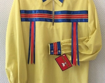 "Native American Regalia*Nakoda Made*Traditional YELLOW Calico Pow Wow Ribbon Shirt© Size XL (40-44"")"