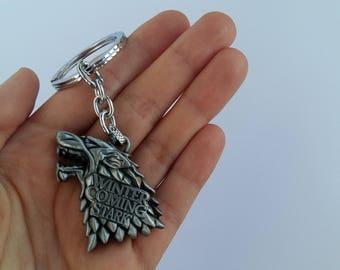 Stark keychain - Game of thrones keychain - Jon Snow - Arya - Starks - House Stark - GOT accessories - Direwolf keyring - Winter is coming