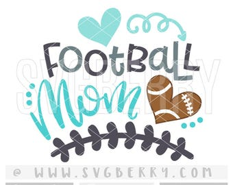 Football Mom SVG / Football Mom Shirt Tshirt / Football Heart Iron On / Gifts For Mom / Football Spirit Shirts Applique Cutting Files / Bk
