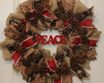 Rustic Burlap Mesh Wreath, Rustic Pine Cone Wreath, 24 inch Wreath, Holiday Wreath, Christmas Wreath, Peace Wreath