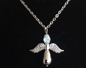 angel pendant necklace silver angel wings religion spirituality