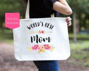 Mom Tote Bag, World's Best Mom Tote Bag, Mother's Day Gift for Mom, Birthday Gift for Mom, Mom Bag, Mother Tote Bag, Worlds Best Mom Tote