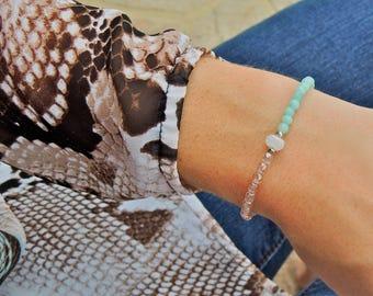 Dainty Bracelet, Dainty Delicate Bracelet, Everyday Bracelet, Light Blue Bracelet for Women, Minimalist Bracelet, Simple Bracelet, Amazonite