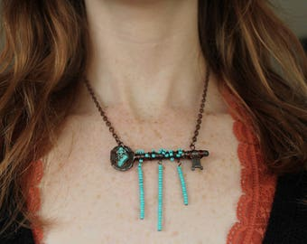 Antique wire wrapped skeleton key, Turquoise beads vintage