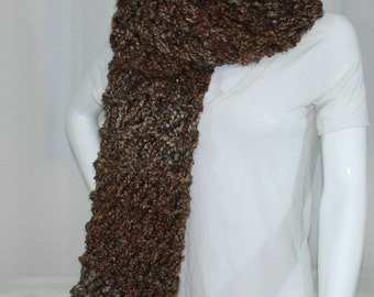 Knit Brown Extra Long Scarf