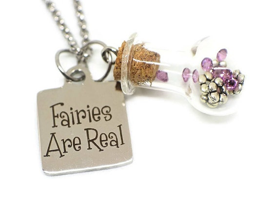 Fairy necklace - Fairy party favor - Girls party favor - Girls fairy gift - Enchanted jewelry - Glass bottle necklace - Fairy lover gift