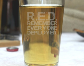 Personalized etched patriotic pint glass, engraved pint glass, gifts for veterans, gifts for him