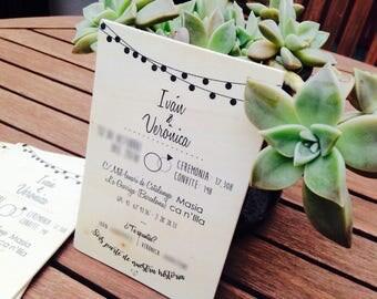 Holz Einladungen. Originelle Einladungen. Rustikale Hochzeit. Einladungen In