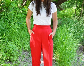 1980s Red Highwaisted Pants