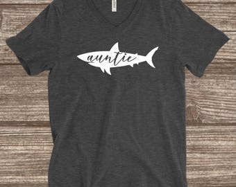Auntie Shark Dark Heather Grey T-shirt - Aunt Shark Shirt - Auntie Shirts