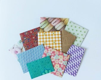 Mystery Small Handmade Envelopes - Set of 10 - Bargain Mixed Patterned Envelopes
