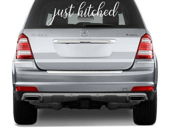 Just Hitched Car Decal, Just Hitched Car Sign, Wedding Decorations, Wedding Car Decoration, Wedding Car Decal, Just Hitched Decal