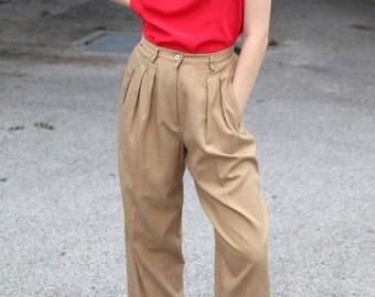 Vintage DKNY Silk-Blend Tan Trousers- Size 26 Waist