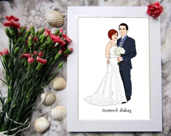 Custom Wedding Portrait, Custom Wedding Gift, Custom Family Portrait, Custom Couple Portrait, Custom Wedding Art, Portrait Printable