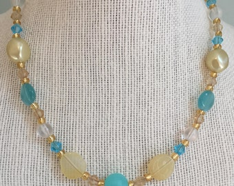 """Upcycled Jewelry -  """"Golden Ticket"""" Beaded Necklace - Made with Vintage and New Materials"""