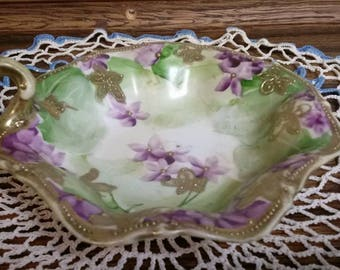 Hand Painted Nippon Nut Dish with Handle