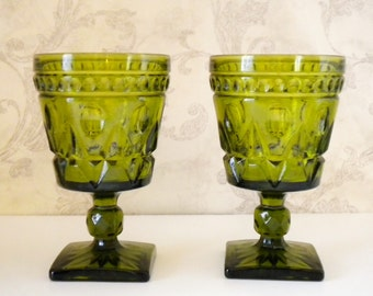 park lane green glass goblets water goblet wine glass colony indiana glass - Water Goblets