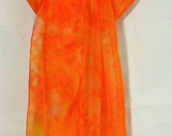 NEW! JUNE! Orange silk scarf, bright color, original design silk scarf, hand painted in Scotland,orange and purple