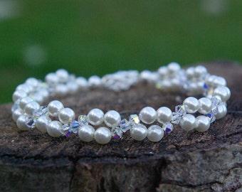 Swarovski Pearl Bracelet Swarovski Crystal AB and Pearl Bracelet Wedding Bridal Pearl Bracelet Swarovski AB Bracelet Pearl and Crystal AB