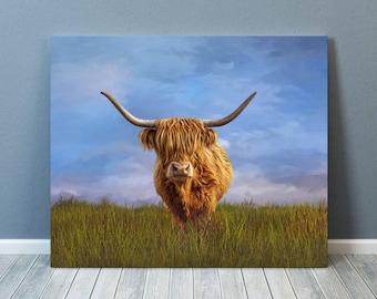 Highland Cow,Highland Cow Print, Highland Cow Art,Cow Print, Cow Art, Cow Picture, Highland Cow Canvas, Cow Gift, Cow-sells UK/USA/AUSTRALIA