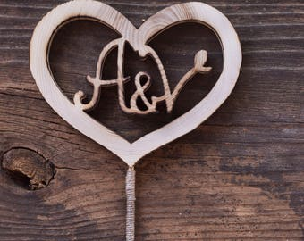 Wood heart shape cake topper with initials, rustic cake topper, wood slice cake topper, unique cake topper with stick, little cake topper