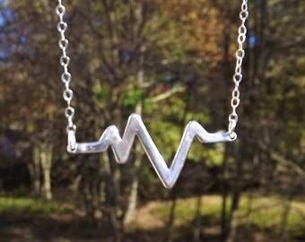 Heartbeat Necklace - Sterling Silver Pulse Necklace - Sterling Heart Necklace - Heart Rate - Sterling Heart Beat - Nurse Necklace - Love