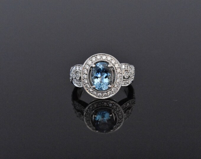 18K White Gold & Aquamarine Ring | Engagement Ring | Wedding Ring | Handmade Fine Jewelry | Diamond Halo  | Unique Engagement Ring
