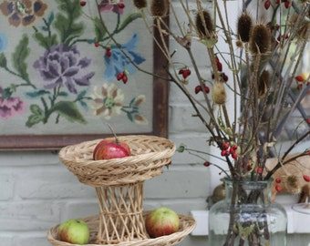 Wonderful Vintage Three Tiered Wicker Fruit Basket/ Perfect for Christmas Styling/ Home Decor