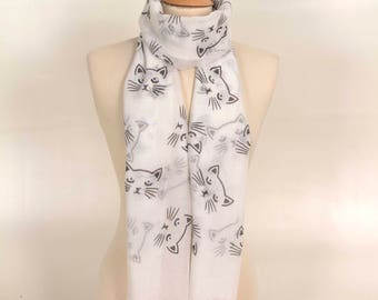 Cat Gift, Cute Scarf, Cat Scarf, Kitten Scarf,Cat lover Gift, Pet lover Scarf, white Scarf, For her,Birthday Gift,Cute Gift, cat print Scarf