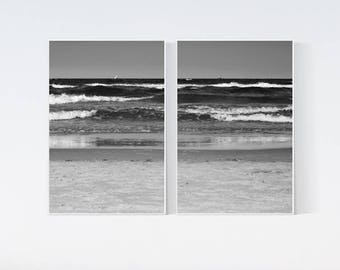 2 prints sea wall art Beach decor Set of 2 black and white prints Photography PRINTABLE Photo print Waves living room art Grayscale digital