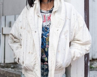 METALLIC PAINT SPLATTER puffer jacket