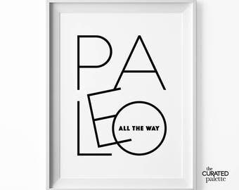 Paleo Lifestyle Keto Printable Art Decor Eating Clean Print Minimalist Wall Art Funny Kitchen Quotes Monochrome Print for Keto Diet