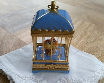 Pill box in cage and birds vintage French Limoges porcelain