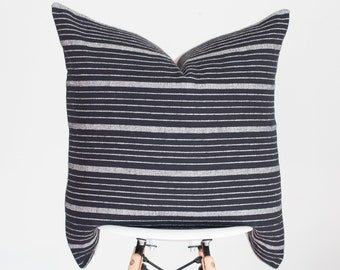 20 x 20 Black and White Stripe Handwoven Pillow Cover from India, Boho Pillow Cover, Nursery Pillow Cover