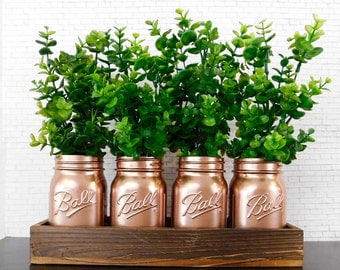Rose Gold Mason Jars, Mason Jar Centerpiece, Wedding Centerpieces, Mason Jars in Wood Box, Boxwood Decor, Rustic Home Decor, Farmhouse Decor