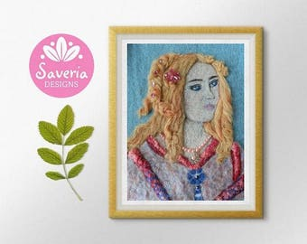 Wool felt art giclee print, renaissance art, felted painting, felt art, italy wall art, italian art print, girls room print, childrens art