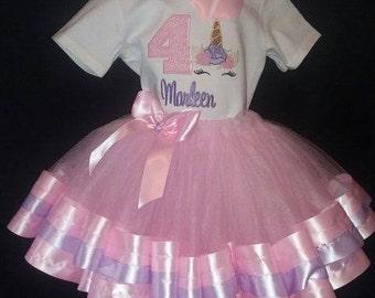 Personalized Embroidered Birthday Unicorn Shirt and Ribbon Trim Tutu Pastel Colors