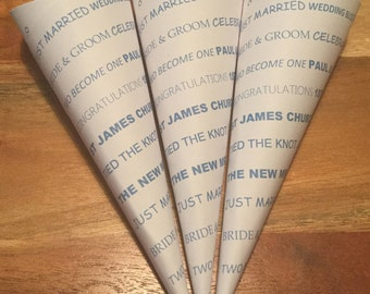 Beautiful Handcrafted Personalised Confetti Cones  packs of 10