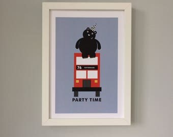 The Party Time Bus A4 Print
