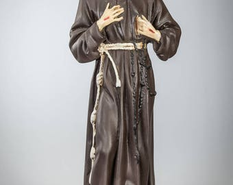 RESERVED for Melissa Calishefsky: St Francis Statue | Saint of Assisi Figure | Religious Figurine | Polychromed Plaster | Vintage | 18""