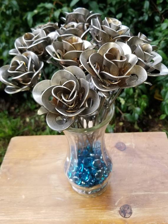 Dozen Metal Roses, Recycled Metal Roses, Metal Rose Sculptures, Welded Roses, Rose Art, Steampunk Roses, 12 Forever Roses, Wedding Bouquet,