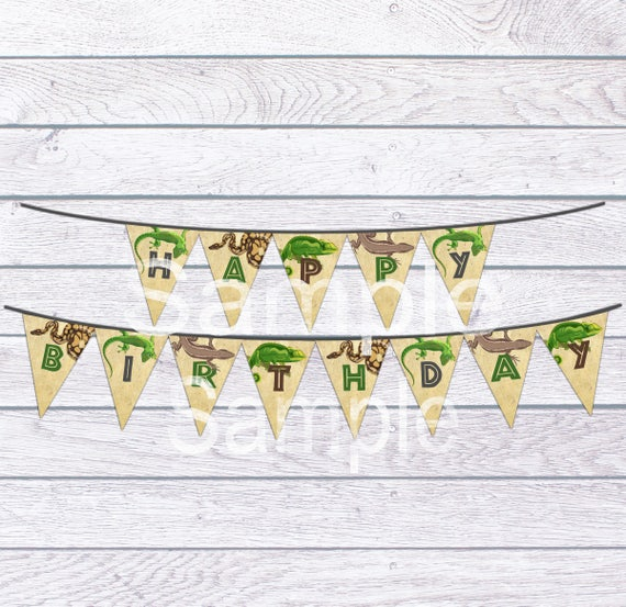 Reptile Birthday Banner Reptile Banner Banner Reptile Party