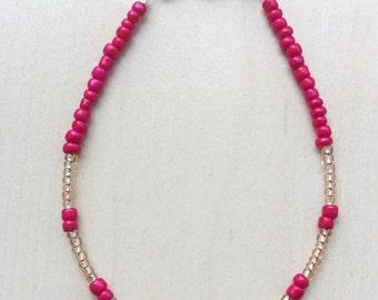Beads Bracelet fuchsia bracelet beaded bracelet Golden Valentine Gift