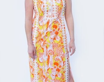 THE LILLY - 1960's Original Lilly Pulitzer Orange and Yellow Floral Print Maxi Dress