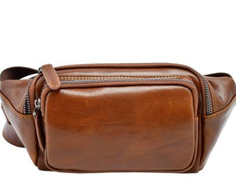 Genuine Leather Man Bum Bag with Pockets