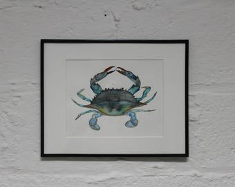 Blue Crab Watercolor Illustration- Original Art Print- Perfect for Beach House or Bathroom