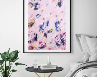 Original Abstract Painting Wall Art Modern Art Pink Painting Contemporary Home Decor Acrylic Mixed Media
