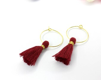 FREE SHIPPING - Hoop tassel earrings (Burgundy)